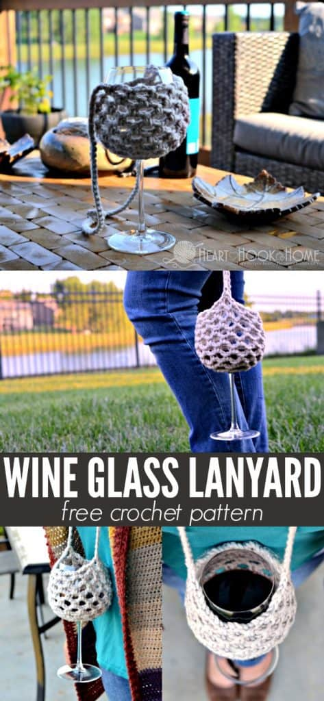 Free crochet pattern for a wine glass lanyard