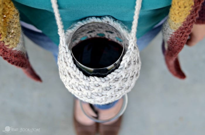 Fun crocheted wineglass lanyard