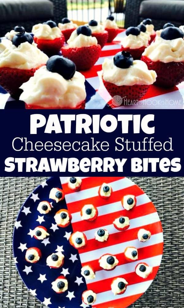 How to make Patriotic Cheesecake Stuffed Strawberry Bites dessert