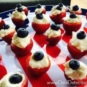 Patriotic Cheesecake Stuffed Strawberry Bites