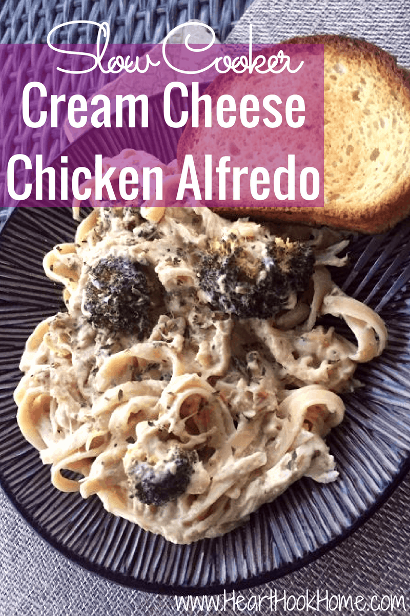 Slow Cooker Cream Cheese, Chicken and Broccoli Alfredo
