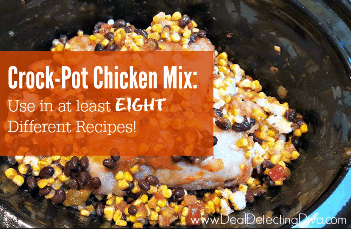 Slow Cooker Chicken Mix :: Use for Quesadillas, Salads, Burritos, Nachos, Chicken Casserole, Tex-Mex Soup, Baked Potatoes or Chicken Tacos!
