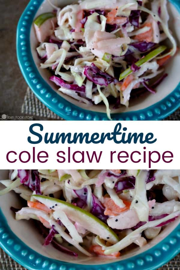 Homemade cole slaw is the perfect side dish on hot summer days. This delicious summertime cole slaw incorporates green apples to add a crisp, tart flavor.