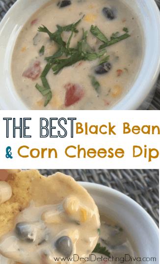 The BEST Black Bean & Corn Cheese Queso Dip