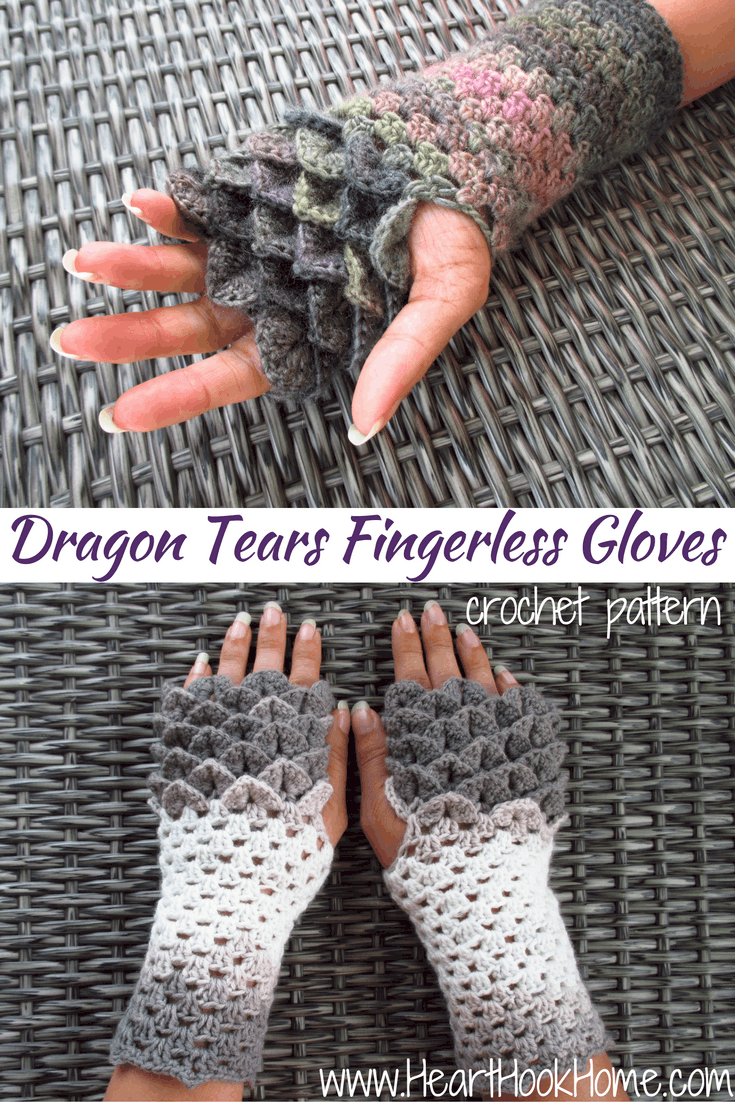 Dragon Tears Fingerless Gloves Crochet Pattern - Heart Hook Home