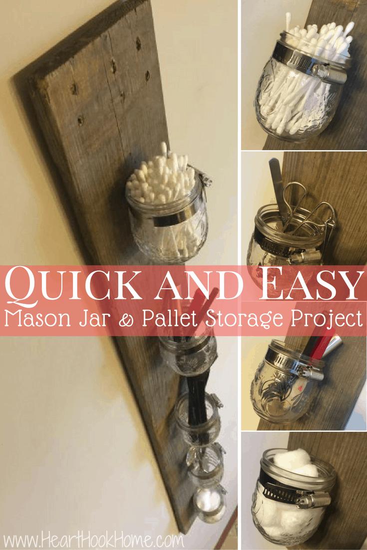 Mason Jar And Pallet Board Diy Storage Rack Heart Hook Home