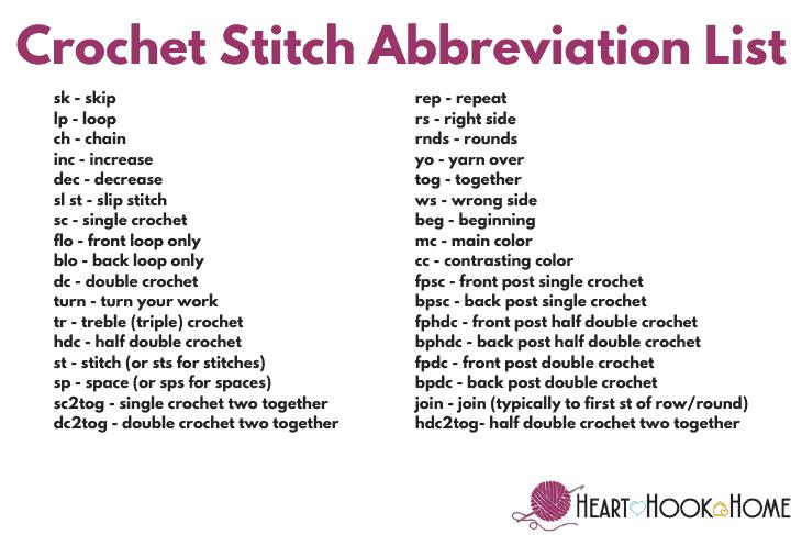 Crochet terms abbreviation list