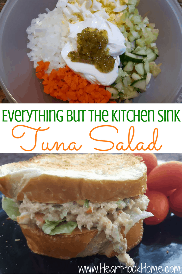 Everything But the Kitchen Sink Tuna Salad Recipe - Heart Hook Home