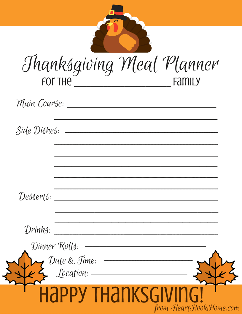 thanksgiving meal planner free printable download