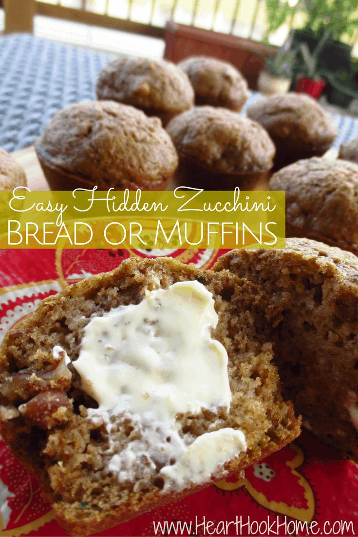 Easy Hidden Zucchini Bread or Muffins Recipe