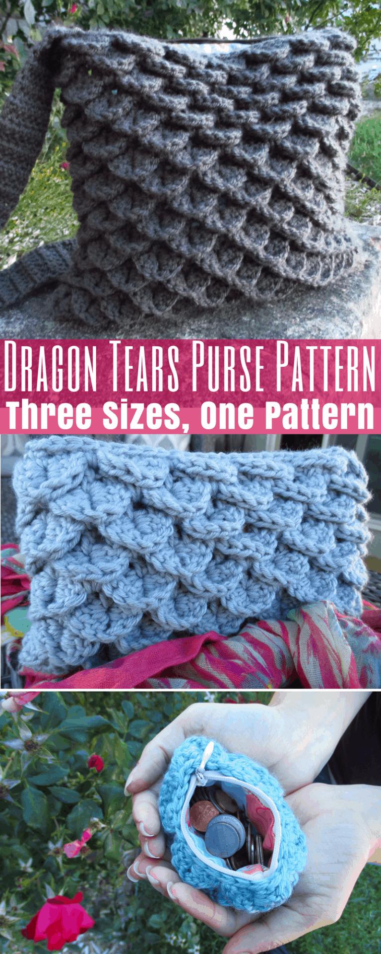 Dragon Tears 3-in-1 Purse Crochet Pattern: Coin Purse : Clutch : Full Size Purse