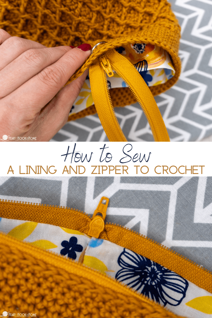 How to sew a zipper and lining to crochet