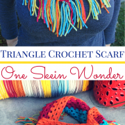 Triangle Crochet Scarf with Fringe (Using Caron Cake Yarn)