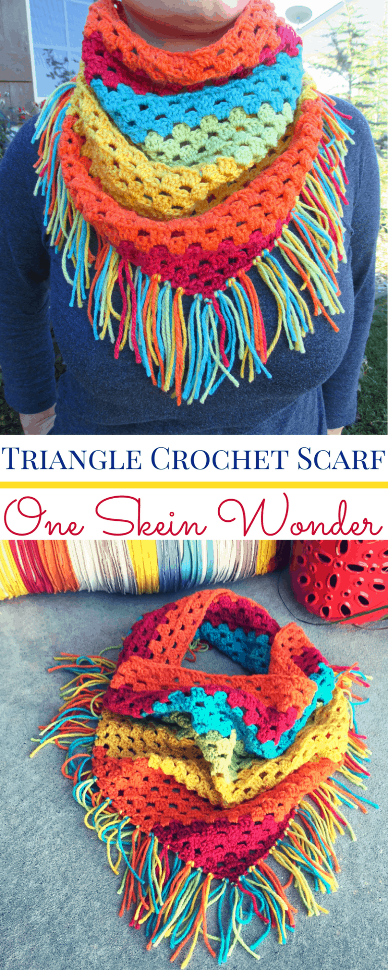 Triangle Crochet Scarf with Fringe Pattern