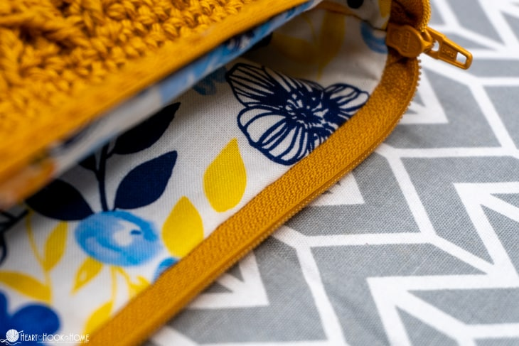 sewing a lining into a crocheted bag