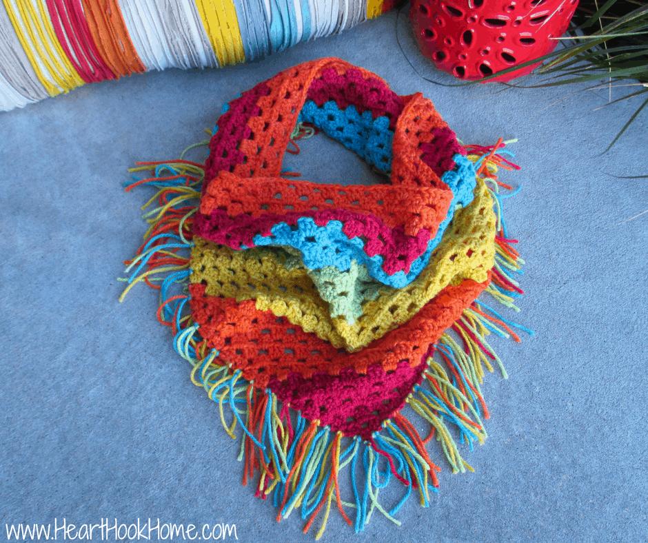 Triangle Crochet Scarf with Fringe (Using Caron Cake Yarn)