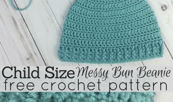 Child Size Messy Bun Beanie Crochet Pattern