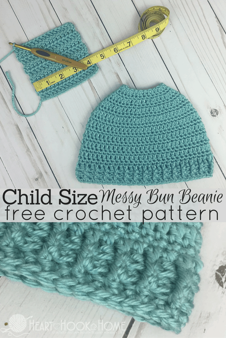 Child Size Messy Bun Beanie Pattern