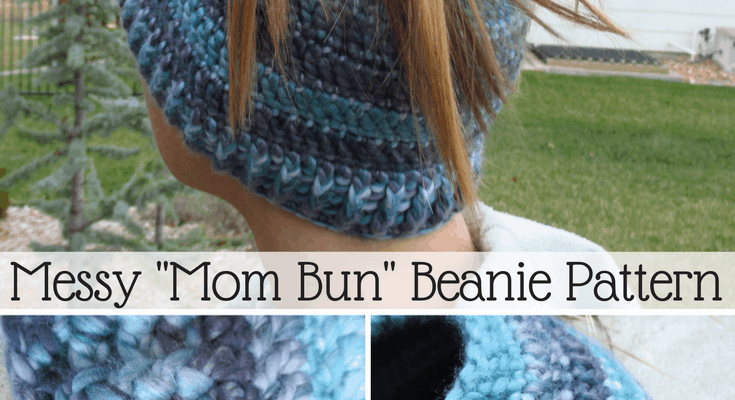 Messy Mom Bun Beanie Crochet Pattern