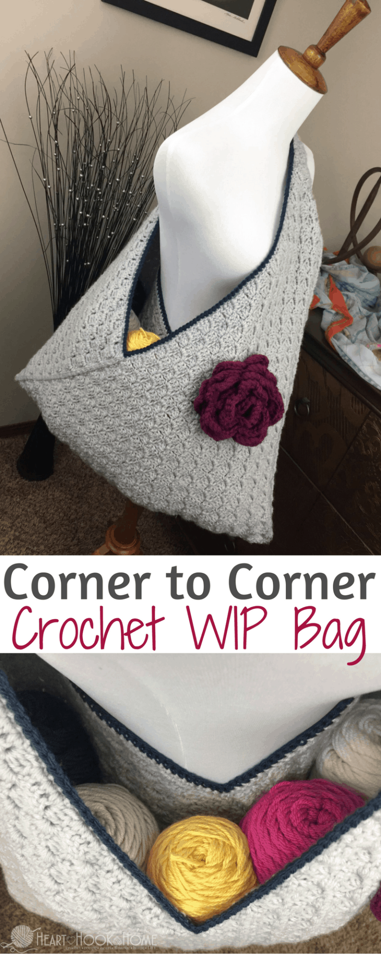 Crochet WIP Bag (Work In Progress) Using Corner to Corner
