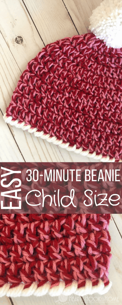 Child Size Easy Peasy 30 Minute Beanie Free Crochet Pattern