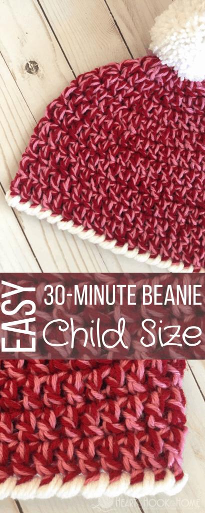 Child Size Easy Peasy 30 Minute Beanie Free Crochet Pattern