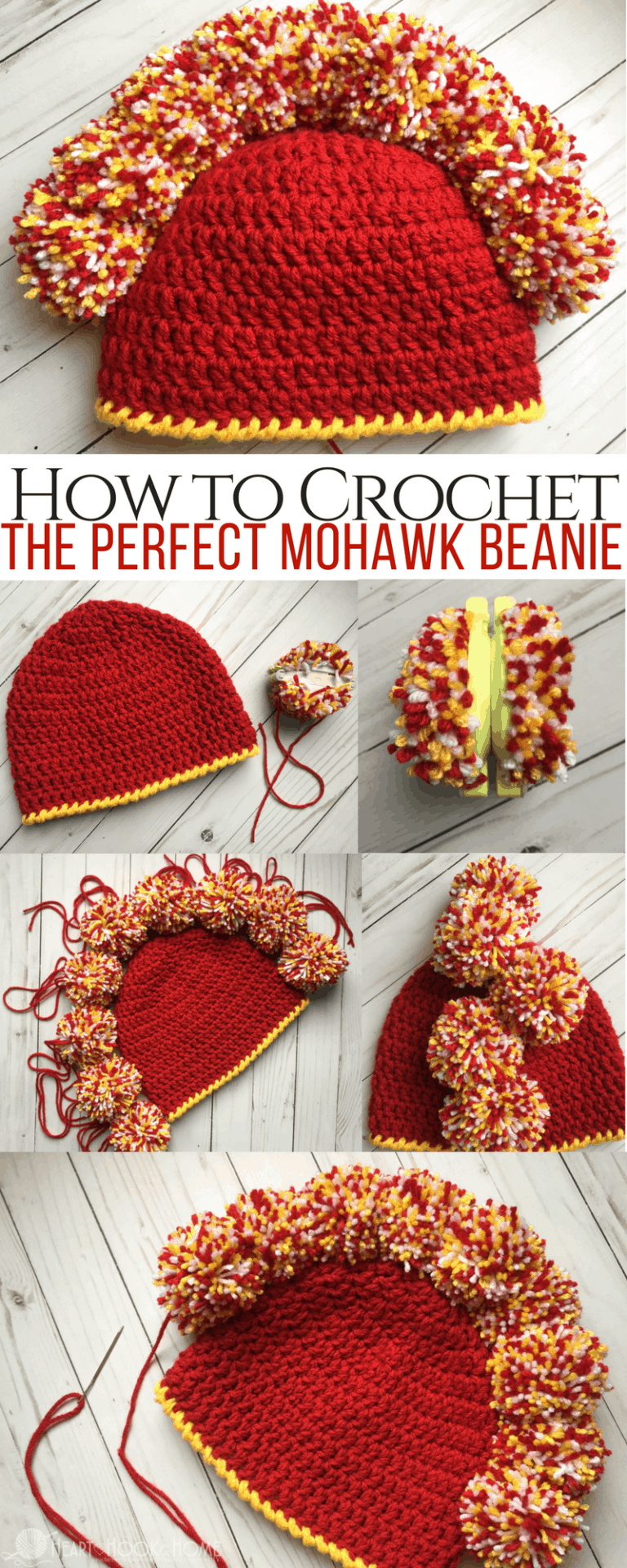 How to Make the Perfect Crocheted Mohawk Beanie with Pom Poms e9a623e56e2