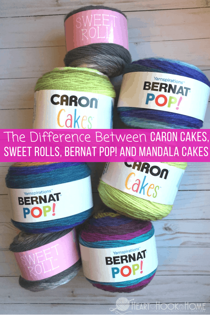 The Difference in Bernat Pop! Yarn Cakes, Caron Cakes, Mandala and Sweet Rolls