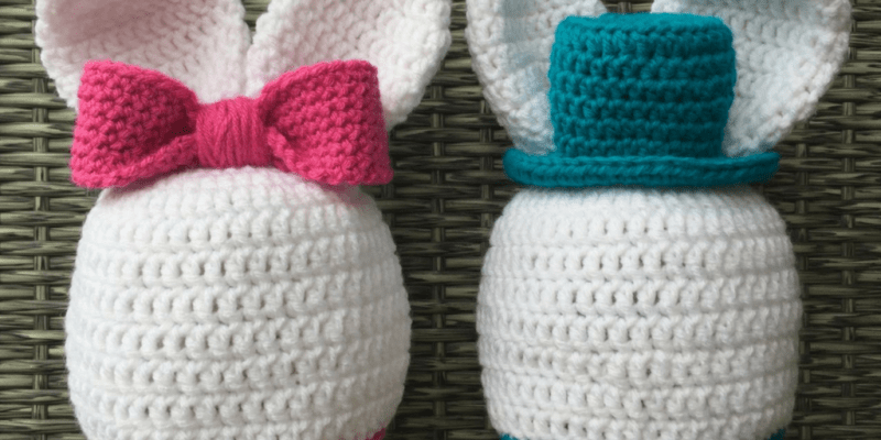 "Crocheted ""boy"" and ""girl"" Bunny Hats"