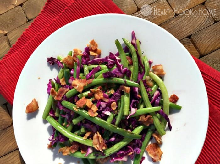 Sauteed Green Beans with Red Cabbage and Bacon