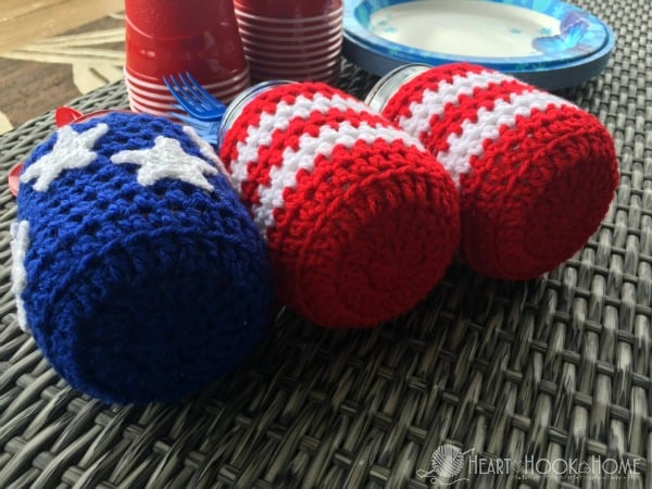 Crochet Mason Jar Covers for 4th of July