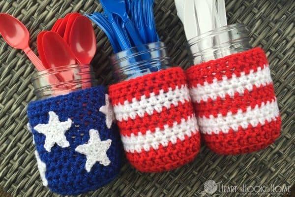 Mason Jar Cover Crochet Pattern for Patriotic Holidays