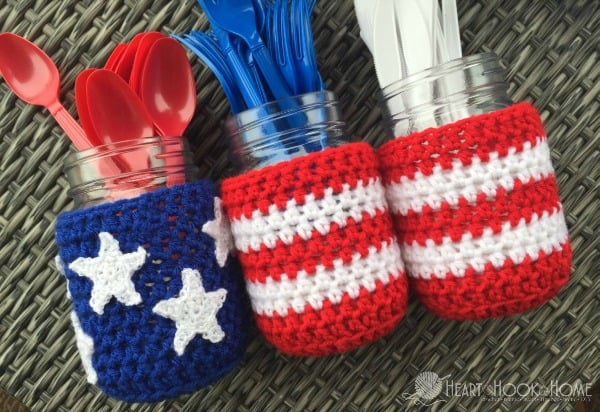 Mason Jar Cover Crochet Pattern for Patriotic Holidays