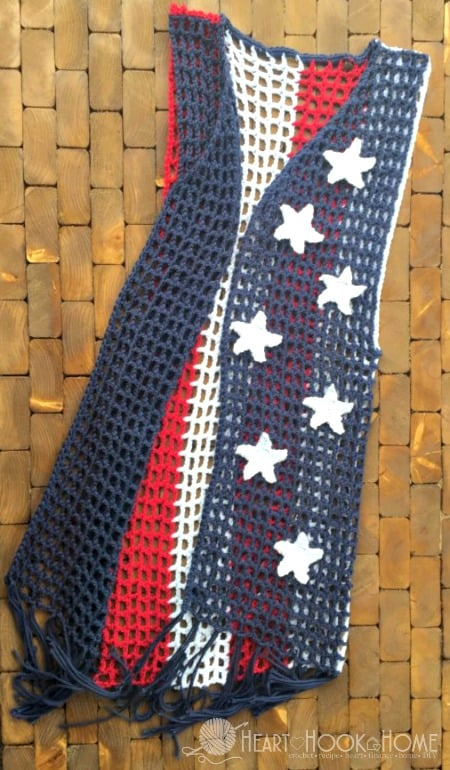 Patriotic Crocheted Vest with Stars Crochet Pattern