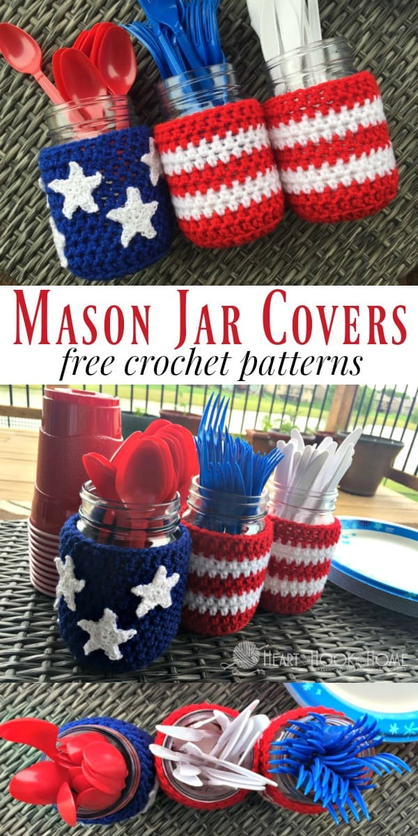 Patriotic Mason Jar Covers Free Crochet Patterns