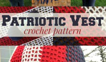 Patriotic Crochet Vest with Fringe Crochet Pattern