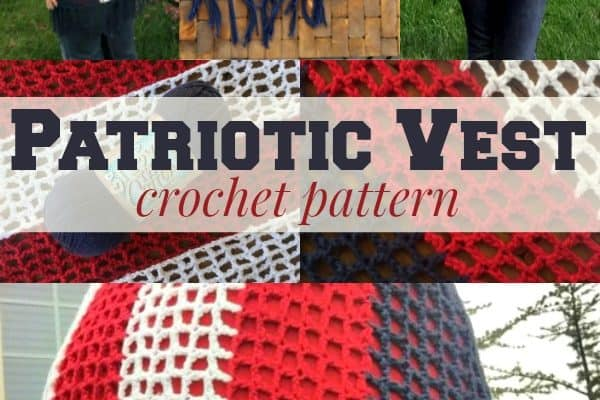 Patriotic Crochet Vest with Fringe Crochet Pattern