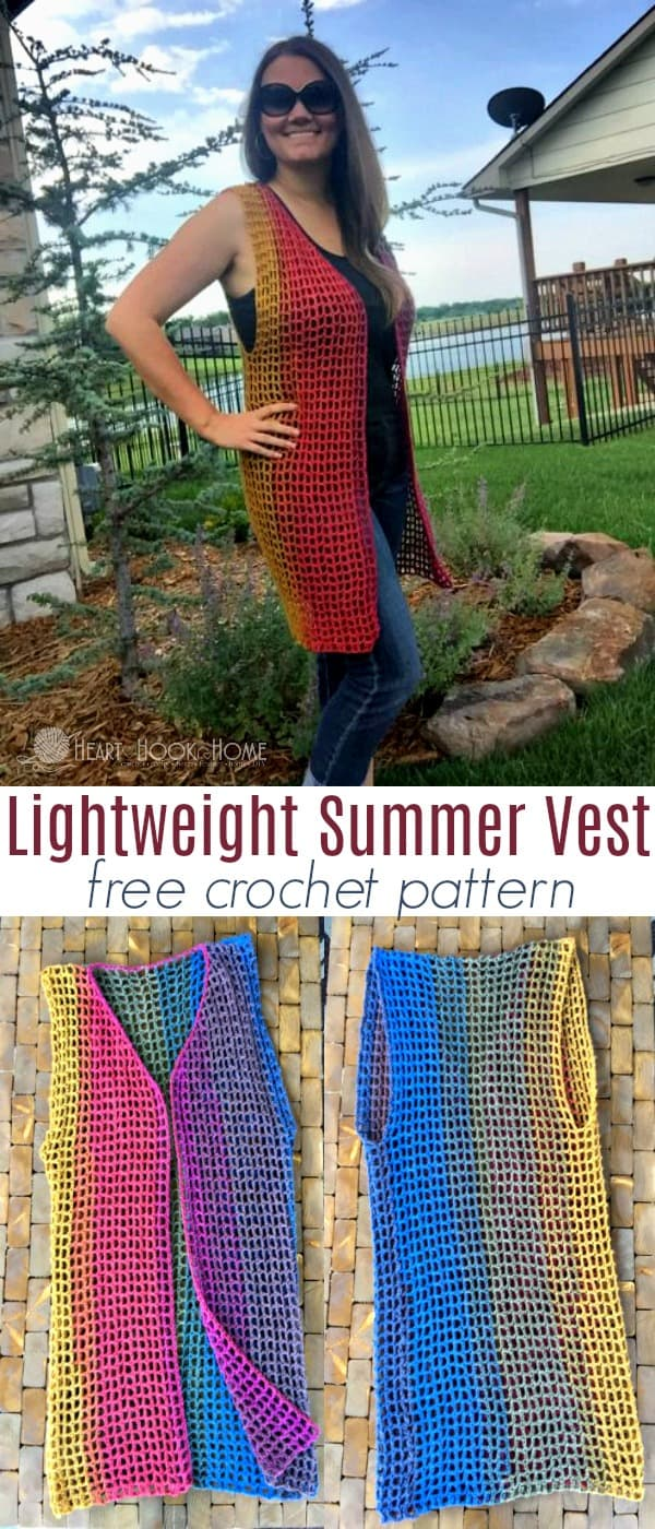 Lightweight Summer Vest Crochet Pattern by Heart Hook Home