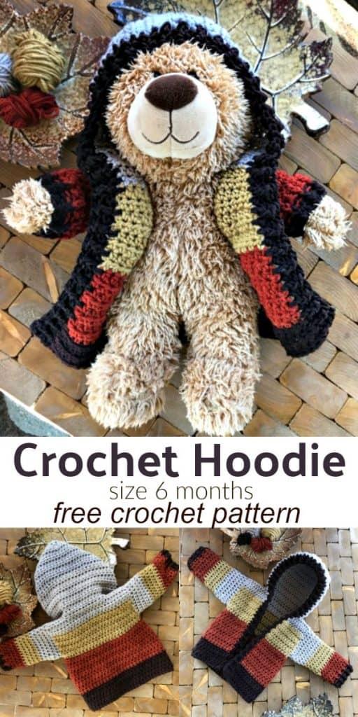 Infant Hoodie Crochet Pattern Size 6 Months