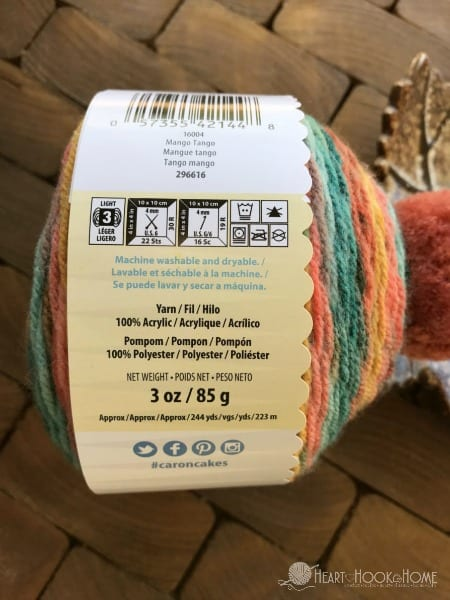 3efa87606a3 The Caron Cupcakes are 244 yards of lightweight size 3 yarn. This yarn is  also 100% acrylic which I love! There is a pattern for a hat on the back of  the ...