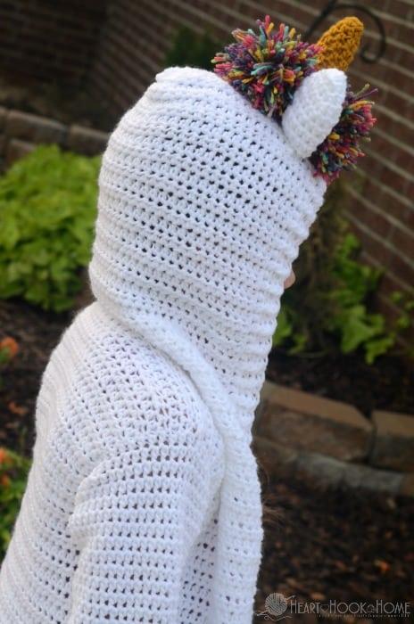 Child size unicorn hoodie crochet pattern