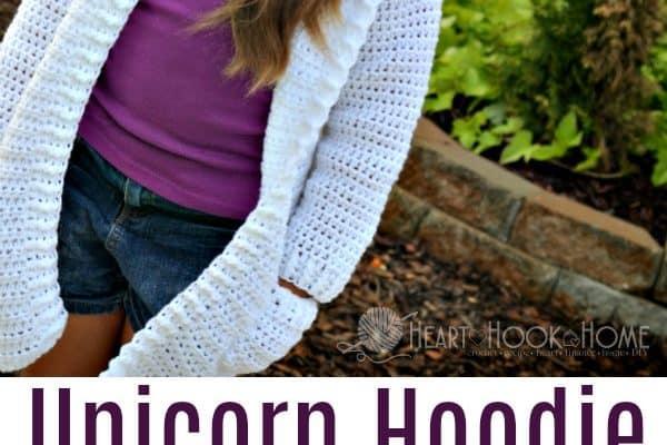 Child Size Unicorn Hoodie Crochet Pattern (sizes 6 – 8)