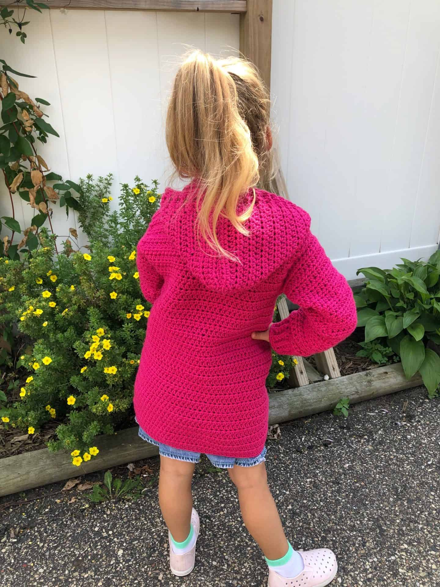 Hooded cardigan for kids free crochet pattern
