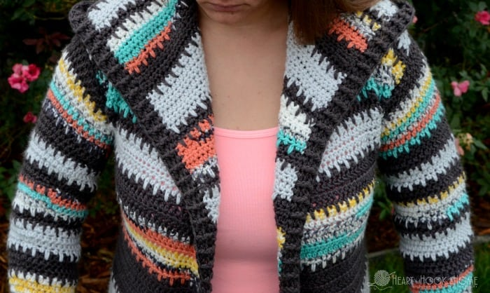 b6bac119e987 Get the pattern. This ADULT Painted Canyon Hooded Cardigan crochet ...