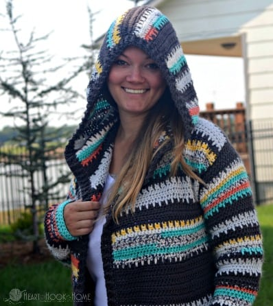 Painted Canyon Hooded Cardigan Hood up