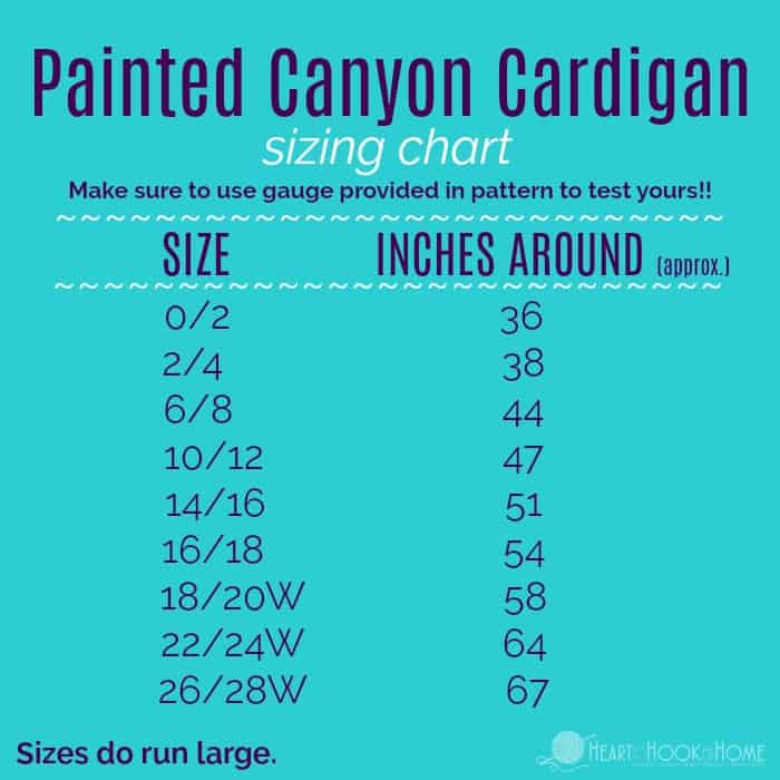 Painted Canyon Cardigan Sizing Chart