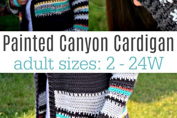 Painted Canyon Hooded Cardigan Crochet Pattern (Sizes 0/2 2/4 6/8, 10/12, 14/16, 16/18, 18/20, 22/24, 26/28W)