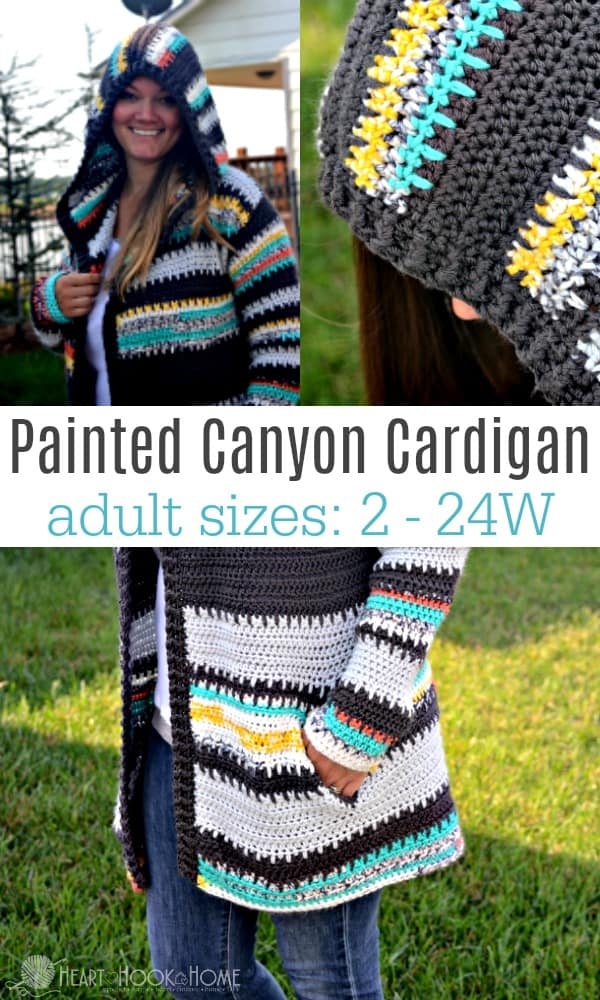 Painted Canyon Cardigan crochet pattern adult sizes 2 - 24W