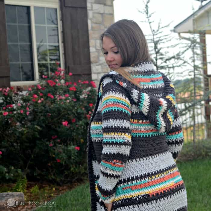 Painted Canyon Cardigan from Behind
