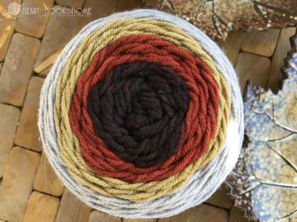 Warm Gingerbread Sugarwheels yarn from Hobby Lobby